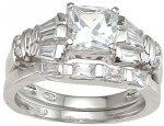 Size 6 CZ Engagement Ring with Wedding Band Set Princess Cut